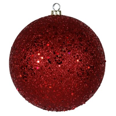 "Holographic Glitter Shatterproof Christmas Ball Ornament Color: Red Hot, Size: 8"" W x 8"" D"