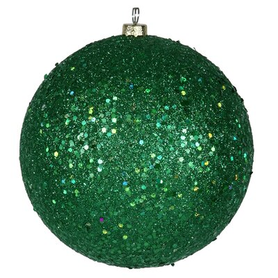 "Holographic Glitter Shatterproof Christmas Ball Ornament Size: 4"" W x 4"" D, Color: Xmas Green"