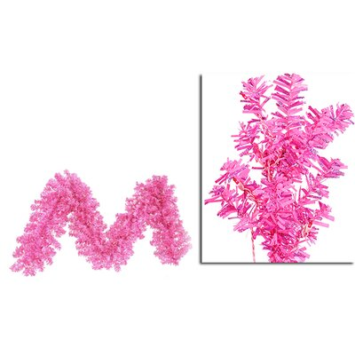 Wide Cut Laser Tinsel Christmas Garland Color: Hot Pink