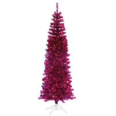 6.5' Fuchsia Pink Pencil Artificial Christmas Tree with Pink Lights