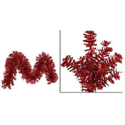 Wide Cut Laser Tinsel Christmas Garland Color: Red