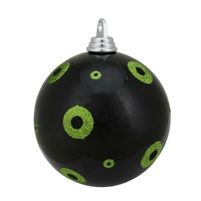 "Glitter Polka Dots Christmas Ball Ornament Size: 6"" W x 6"" D, Color: Black/Lime Green"