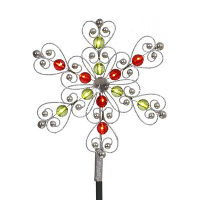 0.8' Silver Red Green Snowflake Christmas Tree Topper with LED Clear Lights