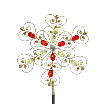 1' Gold Glitter Snowflake Christmas Tree with LED Warm Clear Lights
