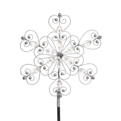 1' Silver Snowflake Christmas Tree Topper with LED Warm Clear Lights