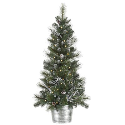 4' Flocked and Glittered Mixed Pine Potted Artificial Christmas Tree