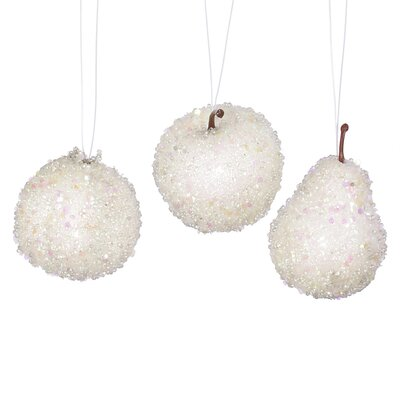 Set of 3 White Beaded Frozen and Glittered Apple Pear and Pomegranate Fruit Christmas Ornaments 3.25