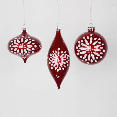Set of 3 Candy Red and White Glitter Star-Burst Christmas Ornaments 7