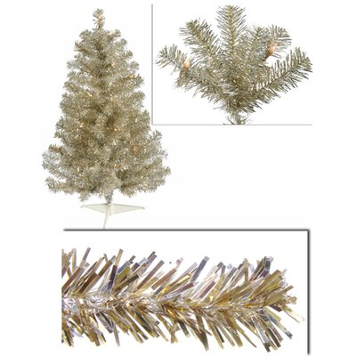 3' Champagne Artifical Sparkling Tinsel Christmas Tree with Clear Light