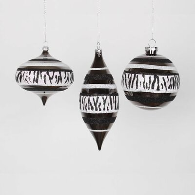 Set of 3 Diva Safari Zebra Print & Stripes Black and White Christmas Ornaments 7