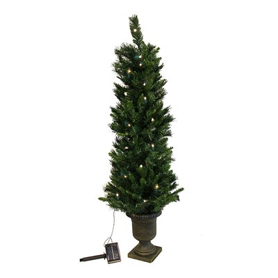 4' Potted Solar Powered Artificial Christmas Tree with LED Clear Lights