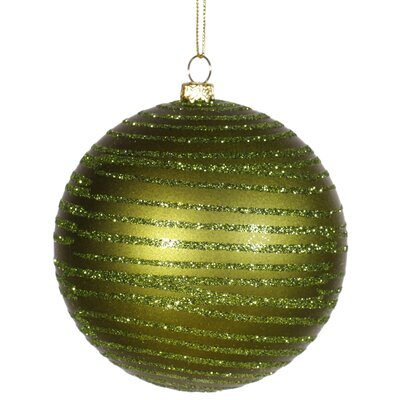 Glitter Striped Shatterproof Christmas Ball Ornament Size: 4
