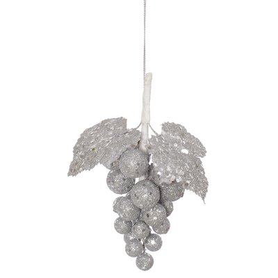 Ride Glittered and Sequined Grape Cluster Christmas Ornament Color: Silver Sleigh