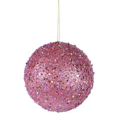 "Holographic Glitter Drenched Christmas Ball Ornament Size: 4"" W x 4"" D, Color: Carnation Pink"