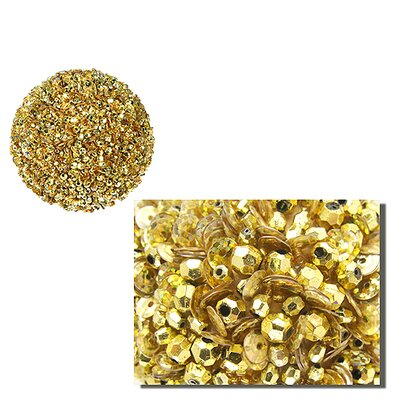 """Fully Sequined and Beaded Christmas Ball Ornament Size: 3.5"""" W x 3.5"""" D, Color: Gold"""