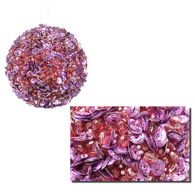 """Fully Sequined and Beaded Christmas Ball Ornament Size: 3.5"""" W x 3.5"""" D, Color: Lilac"""