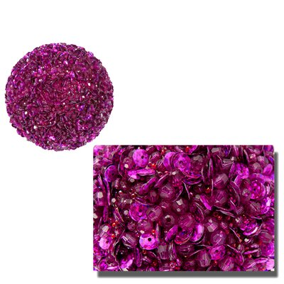 """Fully Sequined and Beaded Christmas Ball Ornament Size: 3.5"""" W x 3.5"""" D, Color: Fuchsia Pink"""
