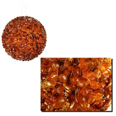"""Fully Sequined and Beaded Christmas Ball Ornament Size: 3.5"""" W x 3.5"""" D, Color: Orange"""