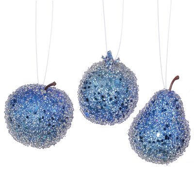 3 Piece Beaded Sequin and Glitter Pear Apple and Pomegranate Fruit Christmas Ornament Set Color: Cobalt Blue