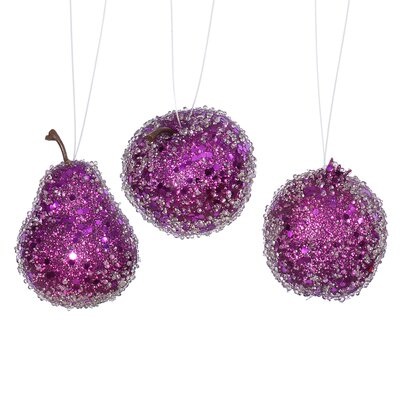 3 Piece Beaded Sequin and Glitter Pear Apple and Pomegranate Fruit Christmas Ornament Set Color: Purple