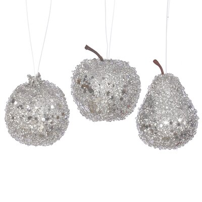 3 Piece Beaded Sequin and Glitter Pear Apple and Pomegranate Fruit Christmas Ornament Set Color: Silver