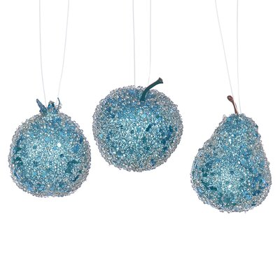 3 Piece Beaded Sequin and Glitter Pear Apple and Pomegranate Fruit Christmas Ornament Set Color: Turquoise Blue