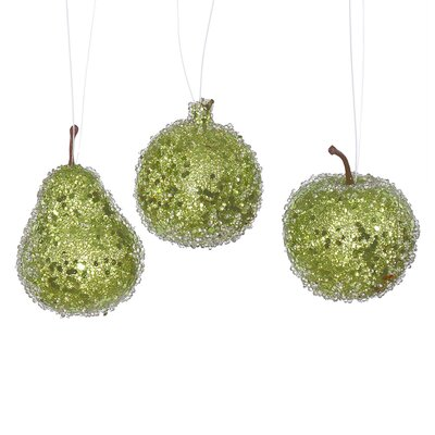 3 Piece Beaded Sequin and Glitter Pear Apple and Pomegranate Fruit Christmas Ornament Set Color: Lime Green