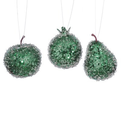 3 Piece Beaded Sequin and Glitter Pear Apple and Pomegranate Fruit Christmas Ornament Set Color: Emerald Green