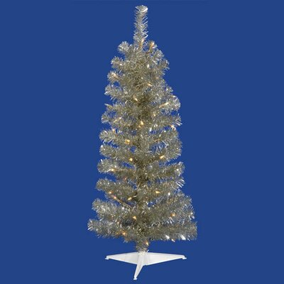 4.5' Champagne Artificial Tinsel Pencil Christmas Tree with Clear Lights