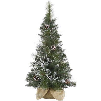 3' Flocked and Glittered Mixed Pine Christmas Tree in Burlap Base