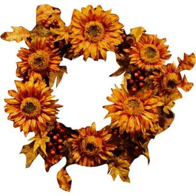 "Vickerman 24"" Artificial Autumn Harvest Sunflower Berry Wreath P136624"