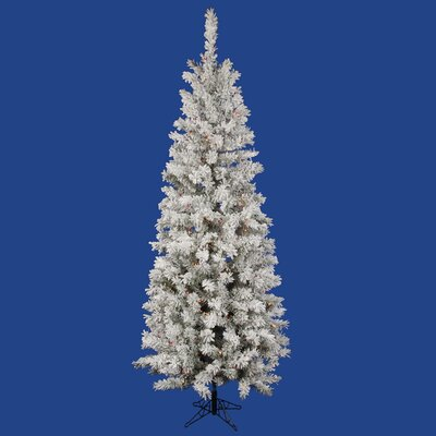 Flocked Pacific Pine 7.5' White Artificial Pencil Christmas Tree with 275 Multicolored LED Lights with Stand