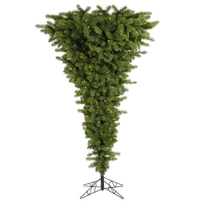 Colorful Upside Down 9' Green Artificial Christmas Tree with 1000 LED White Lights with Stand