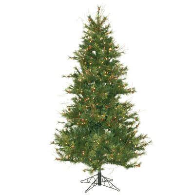 Vickerman Mixed Country Pine Slim 6.5' Green Artificial Christmas Tree with 400 Clear Lights with Stand