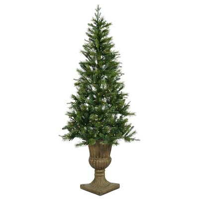 Oneco Pine 6.5' Half Potted Artificial Christmas Tree with Clear Lights