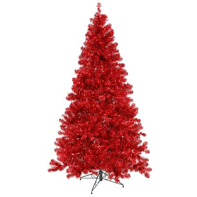 Vickerman 7' Red Artificial Christmas Tree with 500 Red Mini Lights with Stand