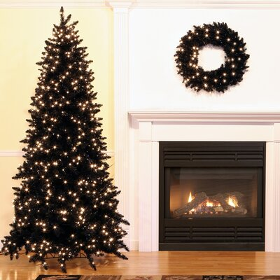 7.5' Black Ashley Spruce Artificial Christmas Tree with Clear Lights