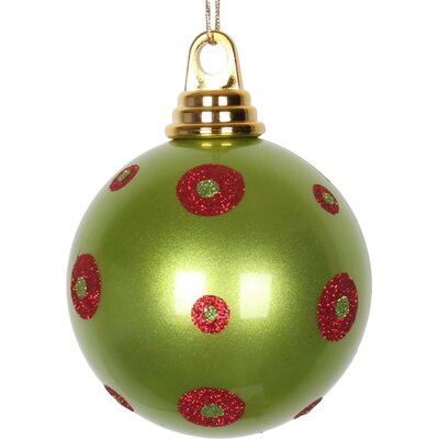 "Glitter Polka Dots Christmas Ball Ornament Size: 4.75"" W x 4.75"" D, Color: Lime Green/Red M144174"