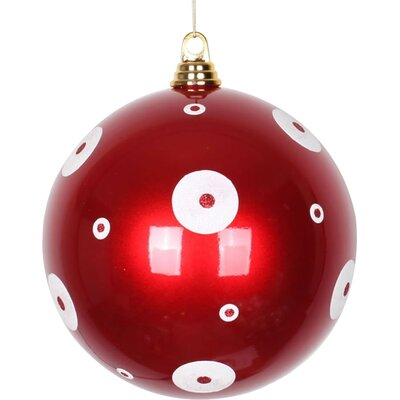 """Glitter Polka Dots Christmas Ball Ornament Size: 6"""" W x 6"""" D, Color: Apple Red/White"""
