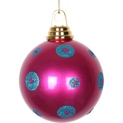 """Glitter Polka Dots Christmas Ball Ornament Size: 4.75"""" W x 4.75"""" D, Color: Pink/Turquoise Blue"""
