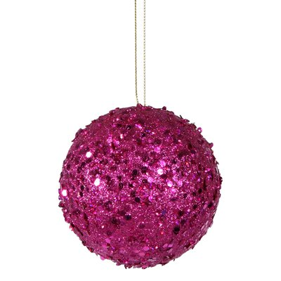 "Holographic Glitter Drenched Christmas Ball Ornament Size: 4"" W x 4"" D, Color: Fuchsia Pink"