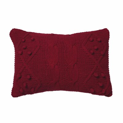 Piscium French Knot Cotton Lumbar Pillow Color: Red