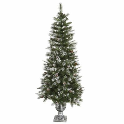 6.5' Frosted Country Pine Cone Potted Artificial Christmas Tree