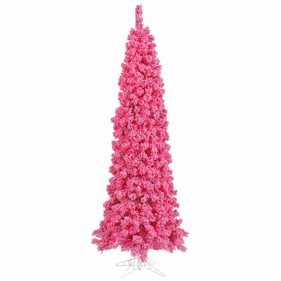 7.5' Pink Pine Artificial Christmas Tree with 300 Mini Single Colored Lights with Flocked