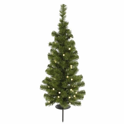Potted Solar 3' Green Artificial Christmas Tree with 30 LED Warm White Lights with Stand