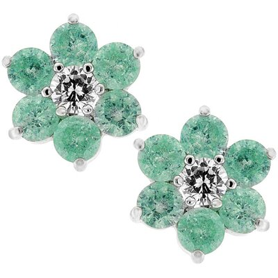 Silver-Tone Lunar Green Cubiz Zirconia Flower Stud Earrings