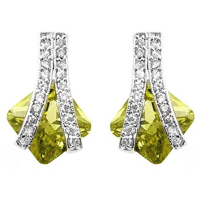 Silver-Tone and Lime Green Cubiz Zirconia Fashion Earrings