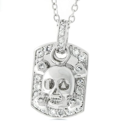 J Goodin Silver-Tone Skull and Crossbones Dog Tag Cubic Zirconia Necklace at Sears.com