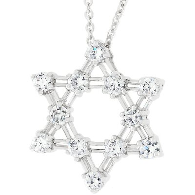 Sterling Silver Star of David Cubic Zirconia Necklace