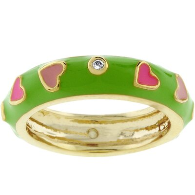 Pink Hearts Green Enamel Cubic Zirconia Ring